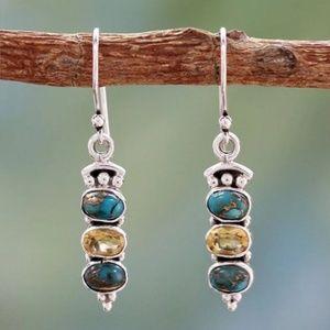 Copper 3 Stone Silver Earrings